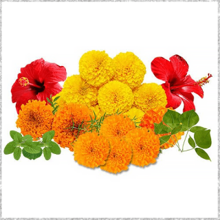 Mixed Loose Flowers include sevanthi, marigold flowers, red roses, jasmine flowers and bel leaves