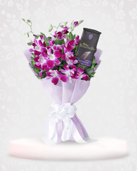 Orchids with Cadbury Bournville Online - Flowers and Chocolate Delivery