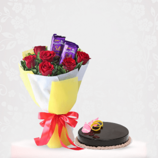 Red roses Bouquet With Cadbury Silk and Chocolate Cake Online Delivery In Mumbai