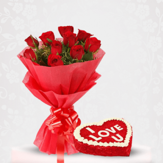 Red Roses Bouquet with Red Velvet Cake Online Delivery