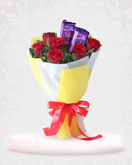 Red Roses with Dairy Milk Silk Online - Flowers and Chocolate Delivery