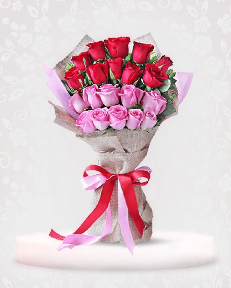 Beautiful Red and Pink Roses Bouquet for Birthday - online bouquet delivery