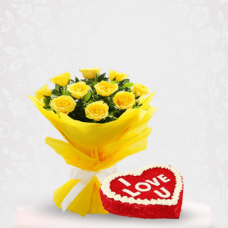 Yellow Roses Flower Bouquet with Red Velvet Cake Online Delivery - Online Gift