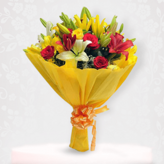 Beautiful Asiatic Lily Bouquet of white, yellow & Red Lilies Flower Online Delivery In Mumbai