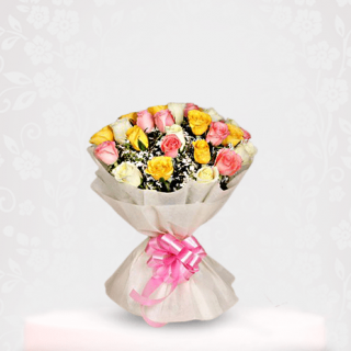 Beautiful Assorted Mix Rose Bouquet of pink, white, yellow roses Online - Online Flower Delivery