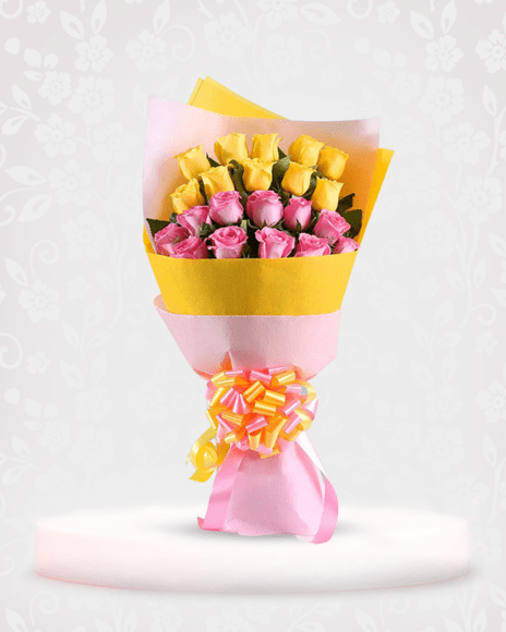 Yellow & Pink Roses Bouquet for Decoration - bouquet of roses near me