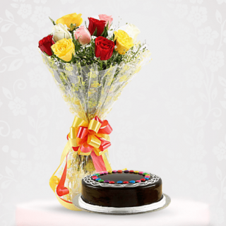Charming Mix Roses Bouquet with Choco Gems Cake Online - Gift Online