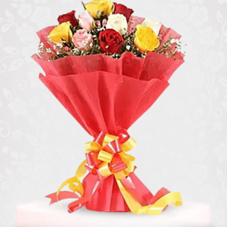 Elegant Mix Roses Bouquet Online for Engagement - happy birthday flowers