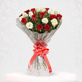 Magical Red & White Roses Bouquet Online - bouquet of roses near me