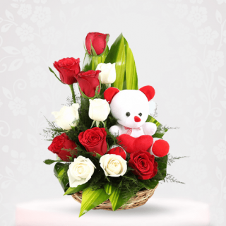 Mixed Roses with Teddy Bear - Teddy Bear With Flowers Online Gift