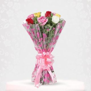 Multi-coloured Magical Rose Bouquet Online - online bouquet delivery in mumbai