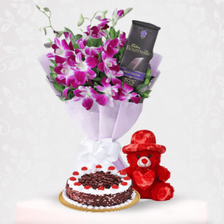 Purple Orchid bouquet with a Black forest, Bournville & Red Teddy Online Gift Delivery Near Me