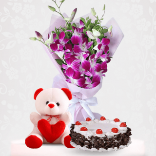 Orchid Flower Bouquet with Black forest Cake and Teddy Bear Online Delivery Near Me