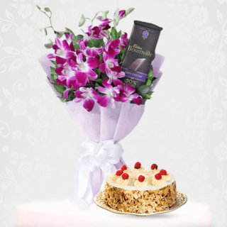 Orchid Flower Bouquet with Cadbury Bournville Chocolate and Butterscotch Cake Online Combo Gift