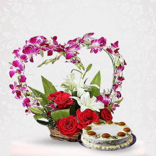 Orchid Flower Bouquet with Gulab Jamun Cake Online Delivery