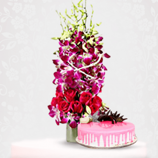 Orchid Rose Flower Bouquet with Chocomouse Chocochip Cake Online delivery