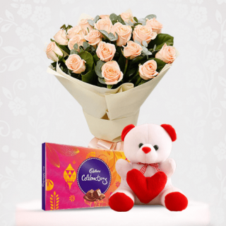 Peach Rose Flower Bouquet with Cadbury and Teddy Bear Online Gift