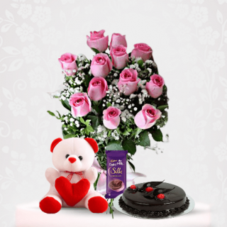 Pink Rose Flower Bouquet with Chocolate Cake, Teddy bear and Cadbury Online Combo Gift