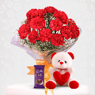 Red Carnation Flower Bouquet with Dairy Milk Silk and Teddy Online Gift Combo