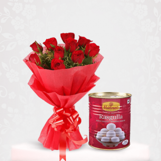 red roses with a mouth-watering Rasgulla sweet online - bouquet delivery online