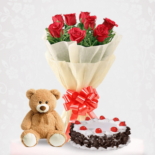 Red Roses with a Black Forest Cake & Brown Teddy Online Combo Gift - Birthday Gift Online