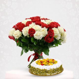 Rose Bunch Bouquet with Mix Fruit Cake Online - Best Online Gift