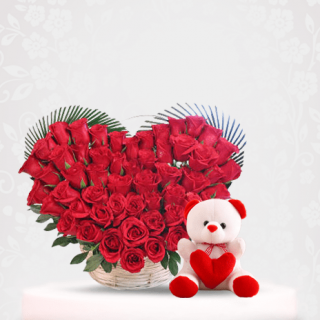 red roses bouquet with teddy bear online near me - red rose flower bouquet Online