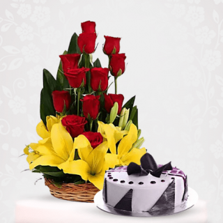 Rose Lily Flower Bouquet with Blue Berry Cake Online Delivery in Mumbai