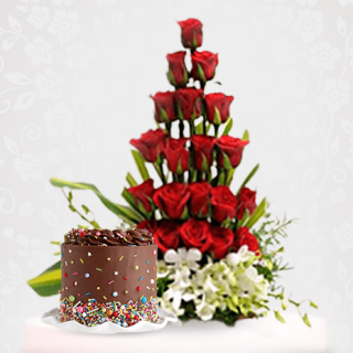 Rose White Flower Bouquet With Chocolate Cake For Valentine's day, Birthday, Anniversary Online Delivery