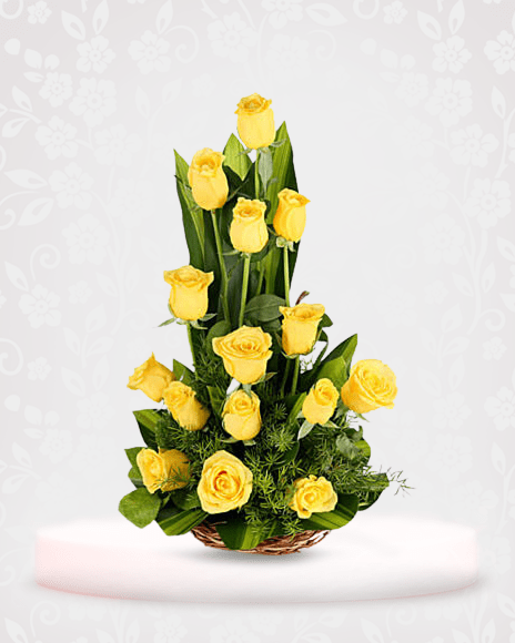 Sunshine Yellow Rose Bouquet Online - bouquet of roses near me