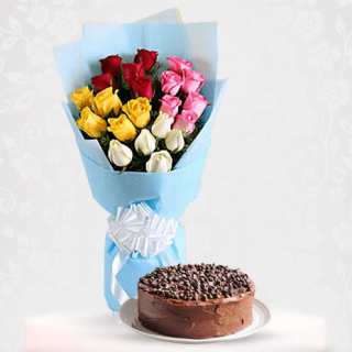 Vibrant Roses Flower Bouquet with Dark Chocolate Cake Online Gift - Mix Roses of Red, white, yellow, pink roses Bouquet