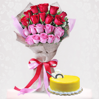 Vibrant Roses Flower Bouquet with Mango Cake Online Gift near me